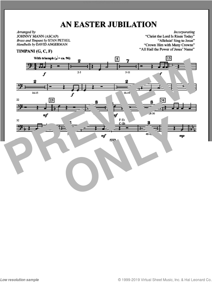 An Easter Jubilation sheet music for orchestra/band (timpani) by Johnny Mann