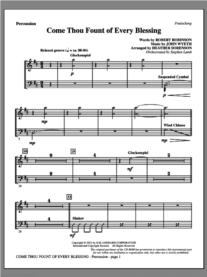 Come, Thou Fount Of Every Blessing sheet music for orchestra/band (percussion) by Robert Robinson