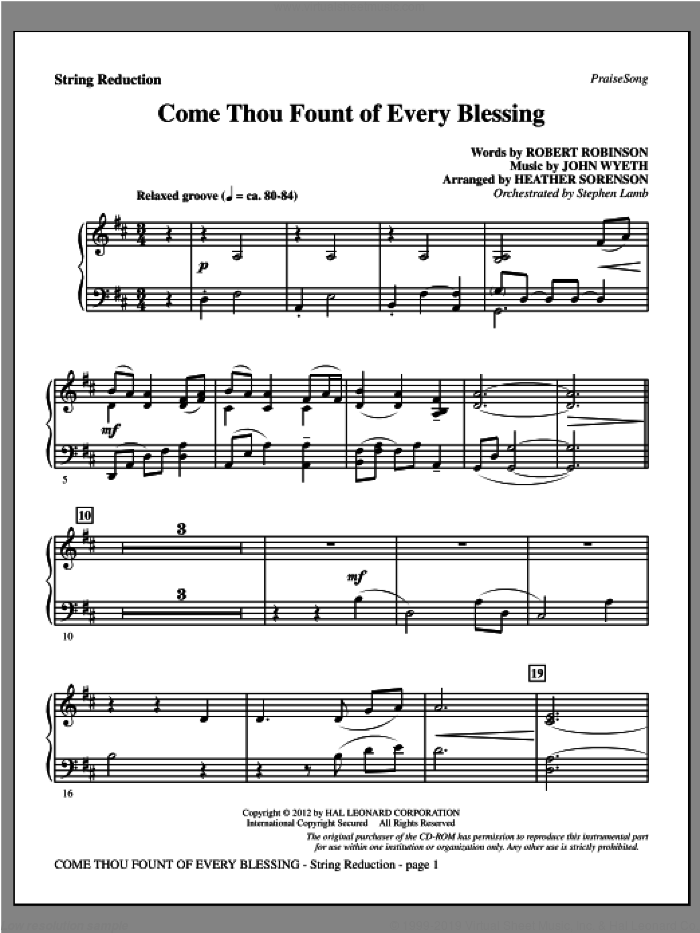 Come, Thou Fount Of Every Blessing sheet music for orchestra/band (keyboard string reduction) by Robert Robinson