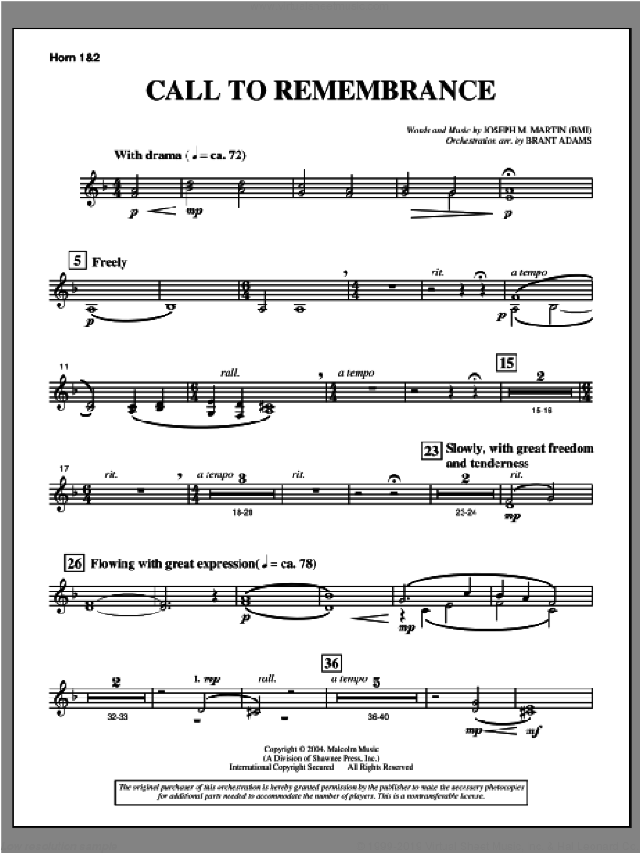Call To Remembrance (from 'Harvest Of Sorrows') sheet music for orchestra/band (f horn 1,2) by Joseph M. Martin, intermediate skill level