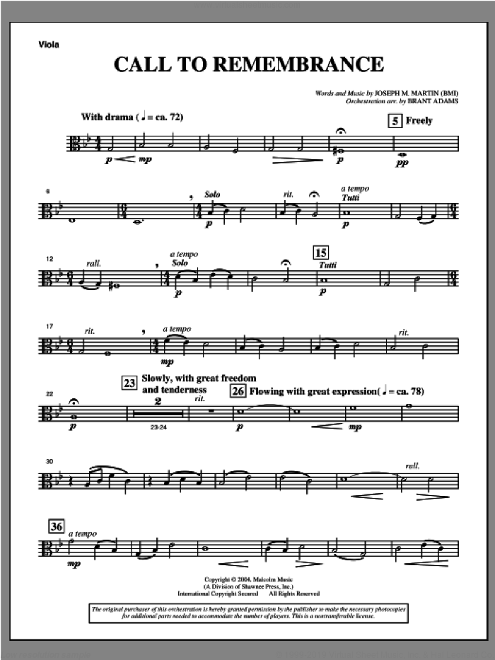 Call To Remembrance (from 'Harvest Of Sorrows') sheet music for orchestra/band (viola) by Joseph M. Martin, intermediate skill level