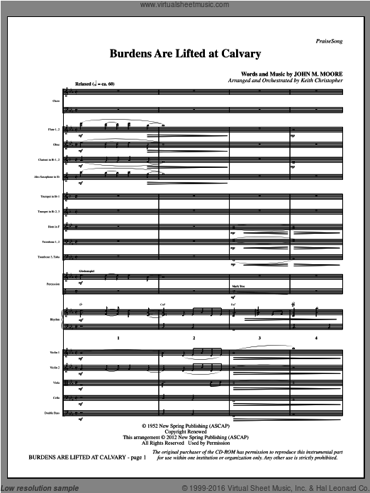 Burdens Are Lifted At Calvary (COMPLETE) sheet music for orchestra by John Moore and Keith Christopher. Score Image Preview.