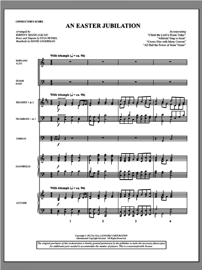 An Easter Jubilation (complete set of parts) sheet music for orchestra/band (Brass) by Johnny Mann, intermediate skill level
