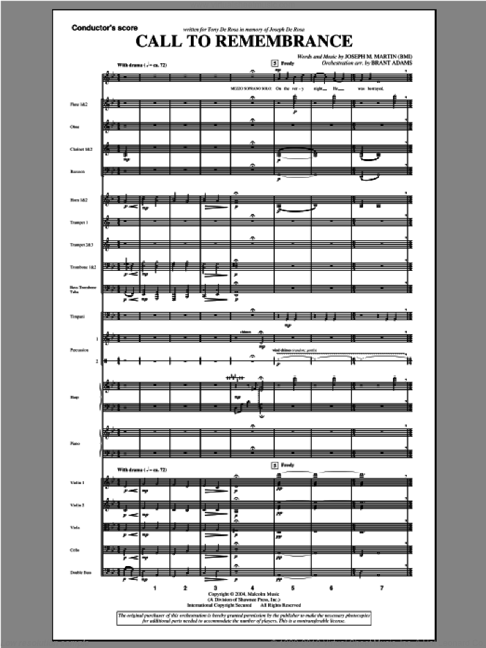 Call To Remembrance (from 'harvest Of Sorrows') (complete set of parts) sheet music for orchestra/band (Orchestra) by Joseph M. Martin, intermediate skill level