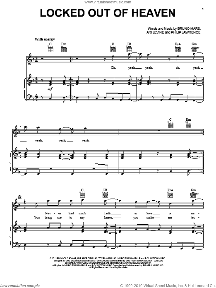 Locked Out Of Heaven sheet music for voice, piano or guitar by Philip Lawrence, Ari Levine and Bruno Mars. Score Image Preview.