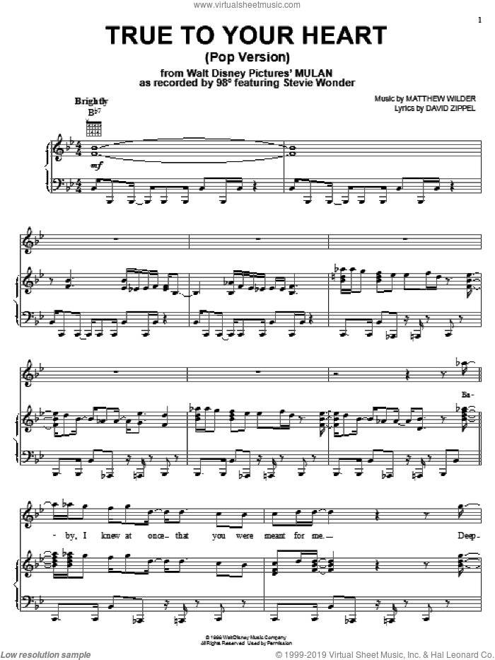 True To Your Heart (Pop Version) sheet music for voice, piano or guitar by 98 Degrees featuring Stevie Wonder, 98 Degrees, Stevie Wonder, David Zippel and Matthew Wilder, intermediate. Score Image Preview.