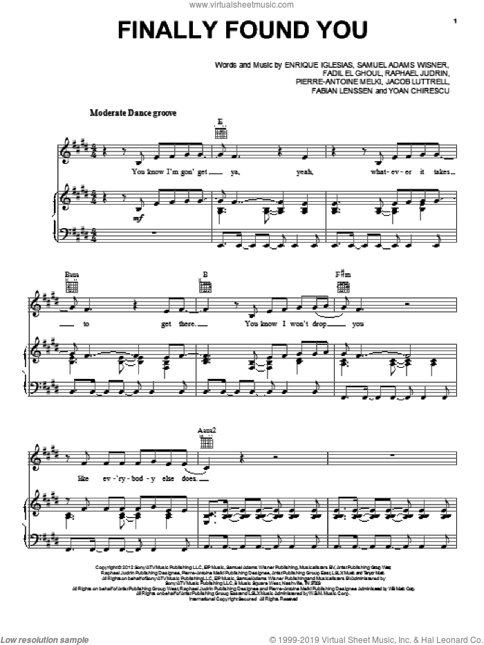 Finally Found You sheet music for voice, piano or guitar by Enrique Iglesias, intermediate voice, piano or guitar. Score Image Preview.