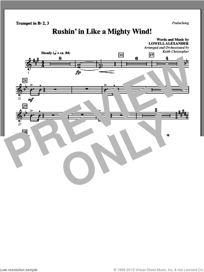 Rushin' In Like A Mighty Wind! sheet music for orchestra/band (Bb trumpet 2,3) by Lowell Alexander