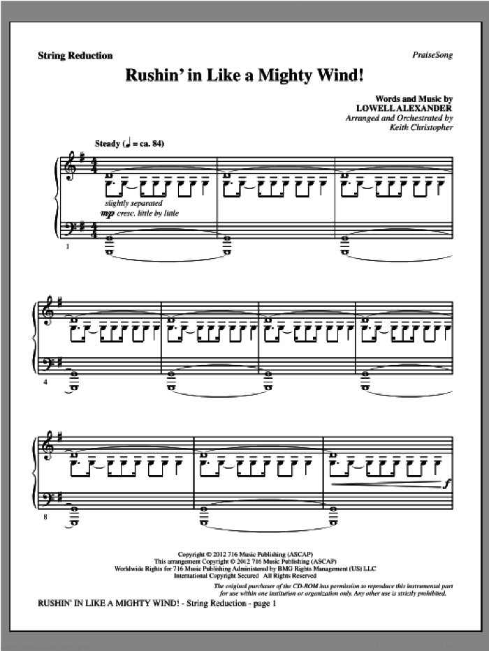 Rushin' In Like A Mighty Wind! sheet music for orchestra/band (keyboard string reduction) by Lowell Alexander