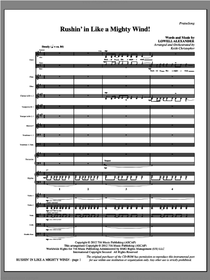 Rushin' In Like A Mighty Wind! (complete set of parts) sheet music for orchestra/band (Orchestra) by Keith Christopher and Lowell Alexander, intermediate. Score Image Preview.