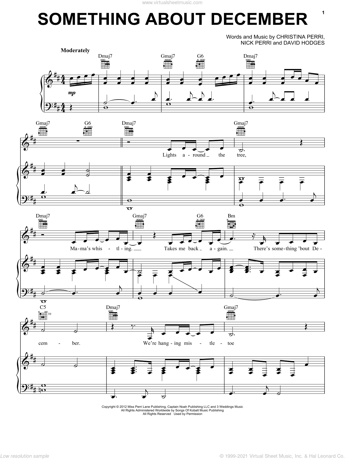 Something About December sheet music for voice, piano or guitar by Christina Perri, David Hodges and Nick Perri, intermediate skill level