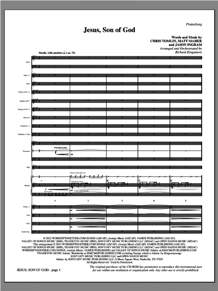 Jesus, Son Of God (complete set of parts) sheet music for orchestra/band (Orchestra) by Chris Tomlin, Jason Ingram, Matt Maher, Passion and Richard Kingsmore, intermediate skill level