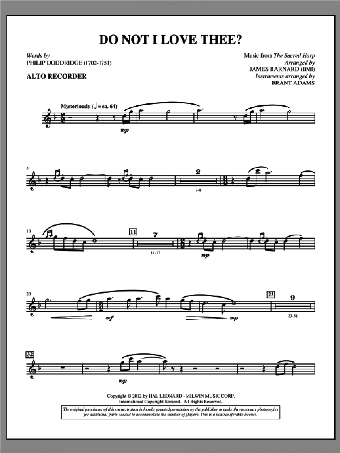 Do Not I Love Thee? sheet music for orchestra/band (recorder) by Philip Doddridge