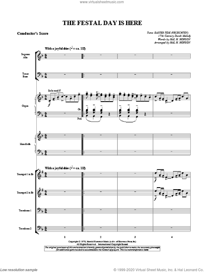 The Festal Day Is Here (complete set of parts) sheet music for orchestra/band (Brass) by Hal Hopson, intermediate skill level