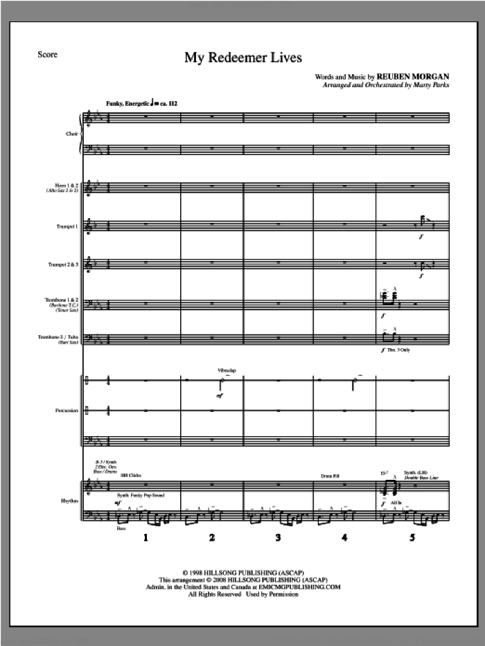 My Redeemer Lives (complete set of parts) sheet music for orchestra/band (Brass/Rhythm) by Reuben Morgan and Marty Parks, intermediate