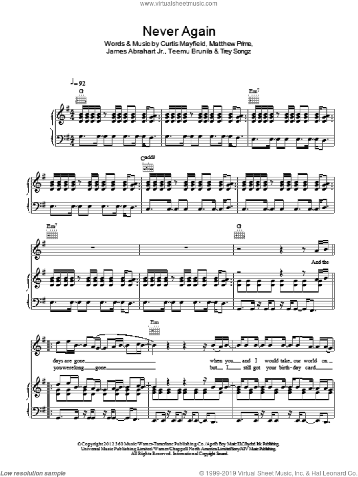 Never Again sheet music for voice, piano or guitar by Trey Songz, Curtis Mayfield and Matthew Prime, intermediate. Score Image Preview.