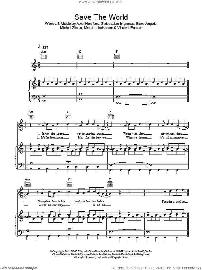 Save The World sheet music for voice, piano or guitar by Vincent Pontare, Swedish House Mafia, Axel Hedfors, Michel Zitron and Steve Angello. Score Image Preview.