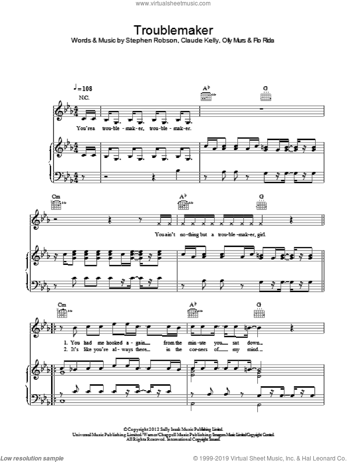 Troublemaker sheet music for voice, piano or guitar by Olly Murs, Claude Kelly, Flo Rida and Steve Robson, intermediate skill level