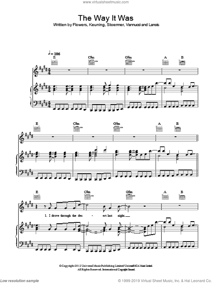 The Way It Was sheet music for voice, piano or guitar by The Killers, Brandon Flowers and Daniel Lanois. Score Image Preview.