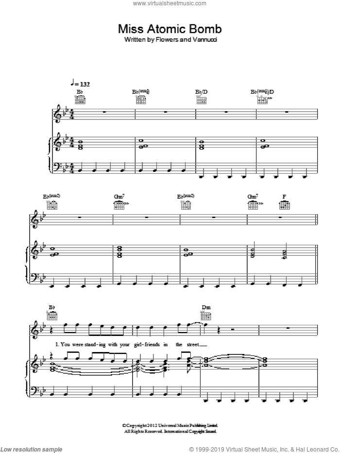 Miss Atomic Bomb sheet music for voice, piano or guitar by Ronnie Vannucci, The Killers, Brandon Flowers, Dave Keuning and Mark Stoermer. Score Image Preview.