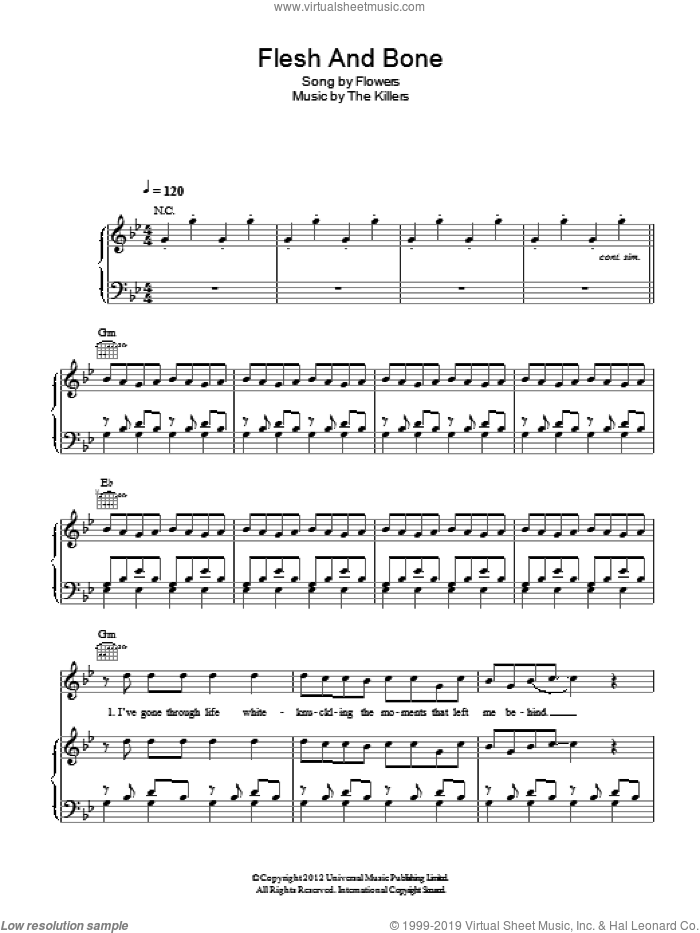 Flesh And Bone sheet music for voice, piano or guitar by The Killers, Brandon Flowers, Dave Keuning, Mark Stoermer and Ronnie Vannucci, intermediate skill level