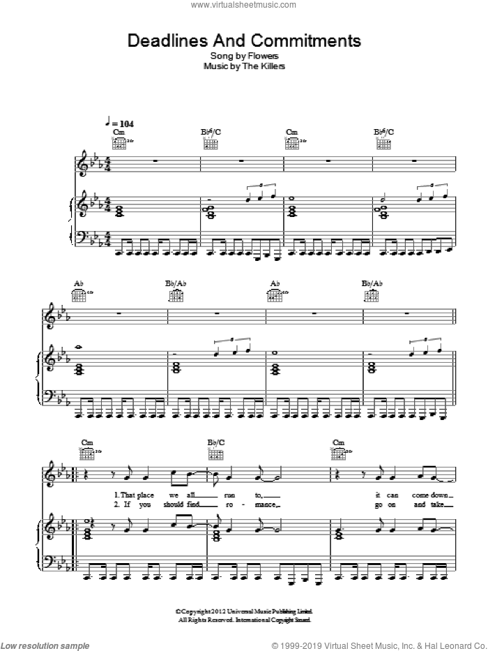 Deadlines And Commitments sheet music for voice, piano or guitar by Ronnie Vannucci, The Killers, Brandon Flowers, Dave Keuning and Mark Stoermer. Score Image Preview.