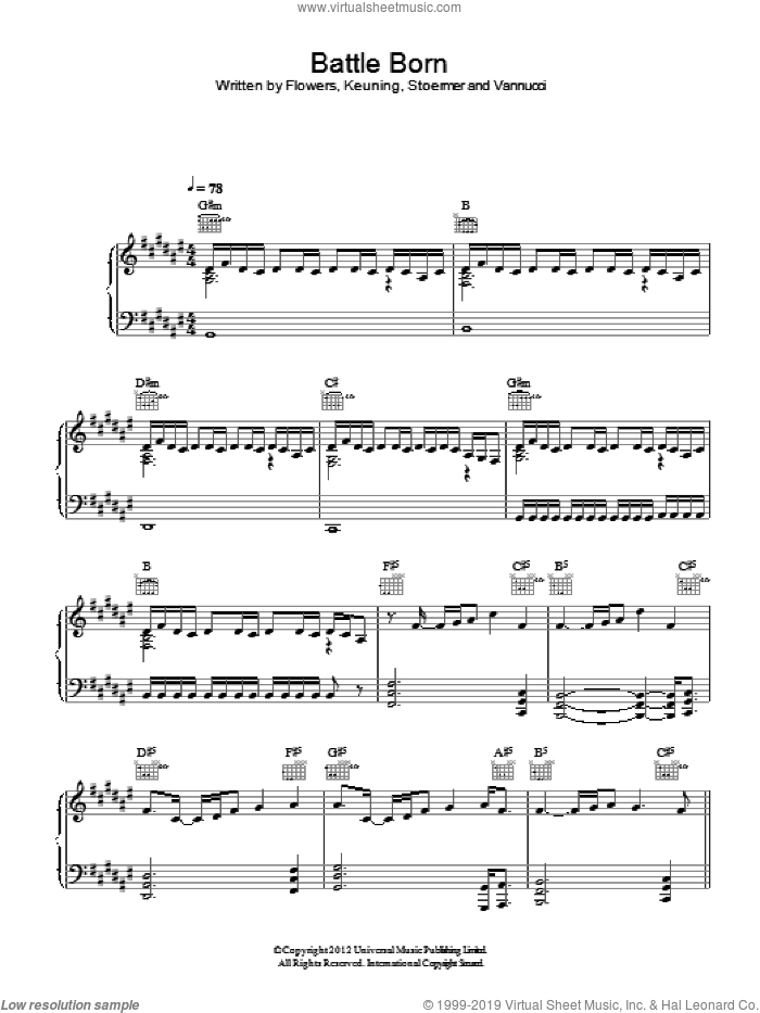 Battle Born sheet music for voice, piano or guitar by The Killers and Brandon Flowers, intermediate voice, piano or guitar. Score Image Preview.
