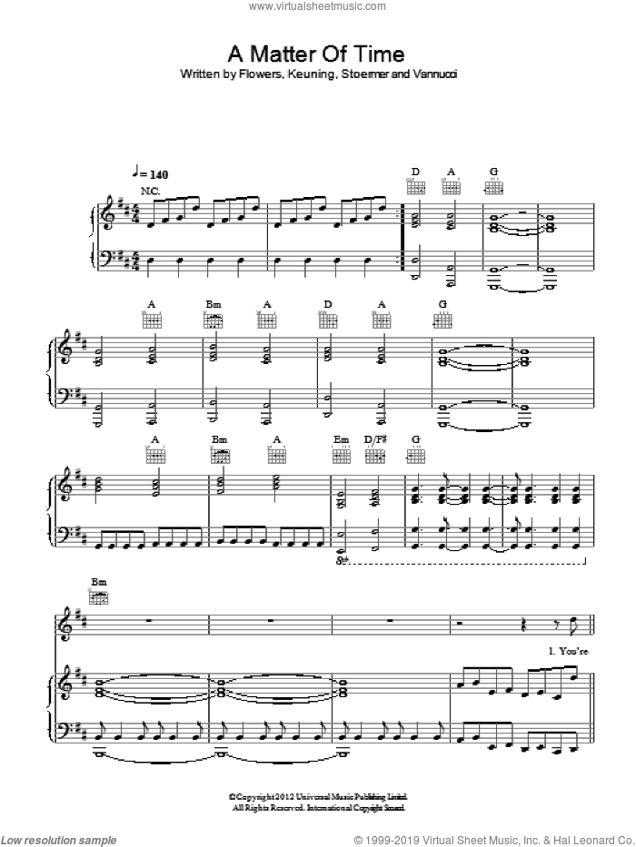 A Matter Of Time sheet music for voice, piano or guitar by The Killers, Brandon Flowers, Dave Keuning, Mark Stoermer and Ronnie Vannucci, intermediate skill level