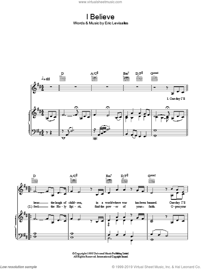 I Believe sheet music for voice, piano or guitar by Katherine Jenkins, classical score, intermediate voice, piano or guitar. Score Image Preview.