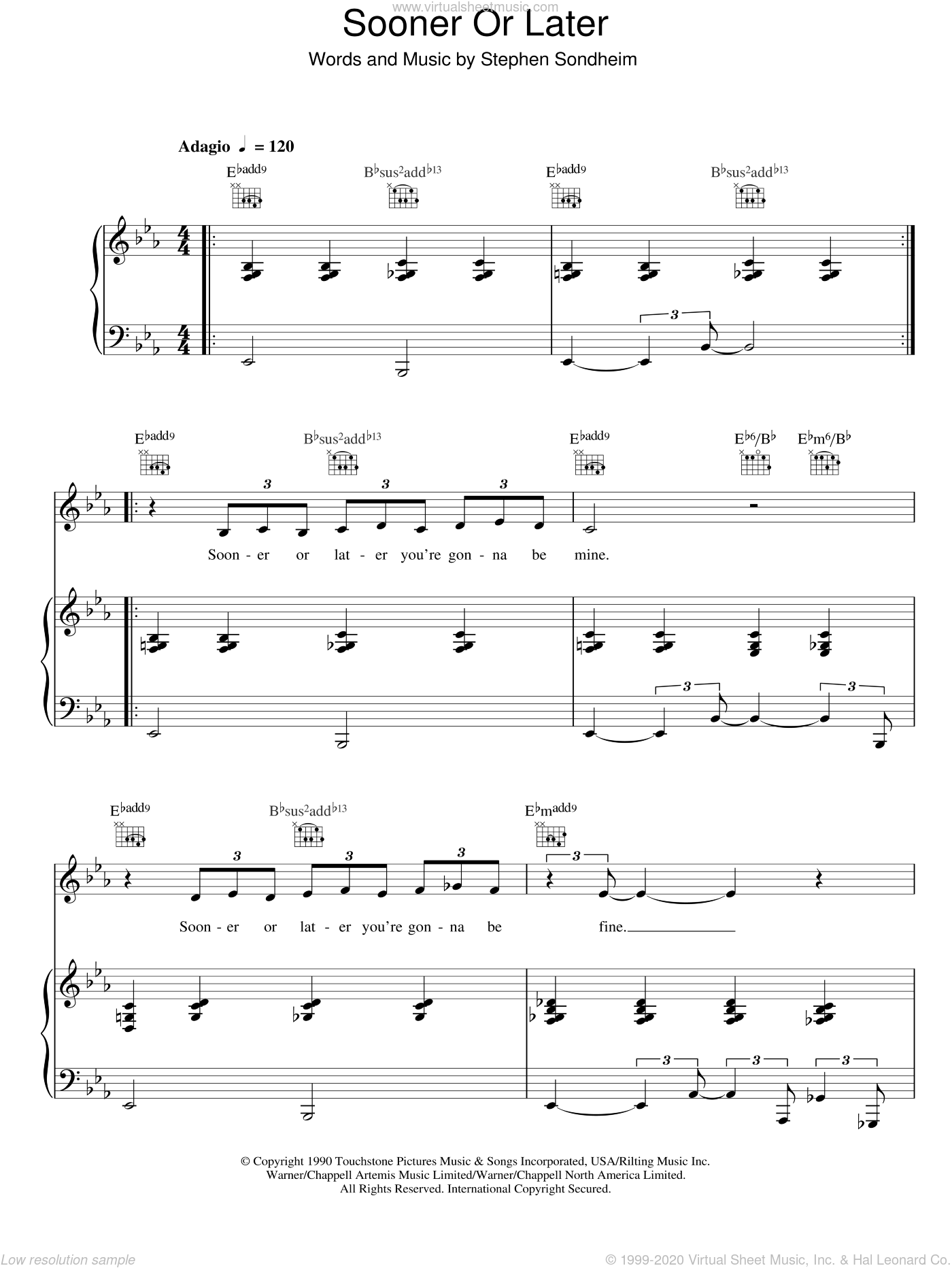 Sooner Or Later sheet music for voice, piano or guitar by Stephen Sondheim and Madonna. Score Image Preview.