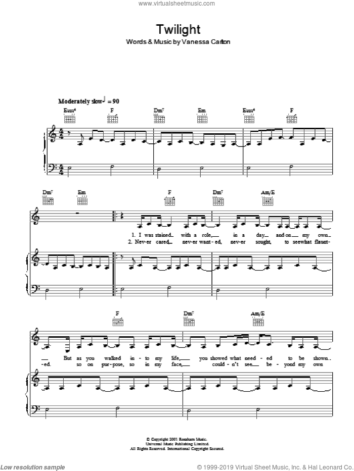 Twilight sheet music for voice, piano or guitar by Vanessa Carlton, intermediate voice, piano or guitar. Score Image Preview.