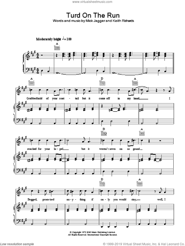 Turd On The Run sheet music for voice, piano or guitar by The Rolling Stones, Keith Richards and Mick Jagger, intermediate skill level