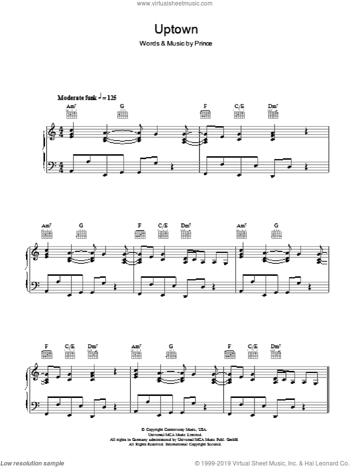 Uptown sheet music for voice, piano or guitar by Prince. Score Image Preview.