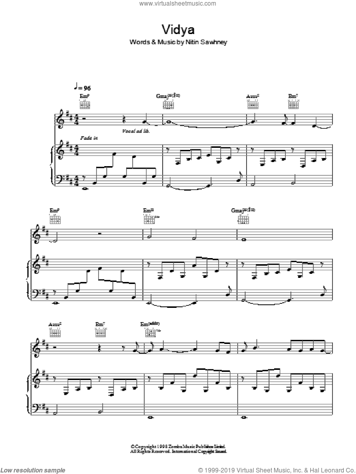 Vidya sheet music for voice, piano or guitar by Nitin Sawhney. Score Image Preview.