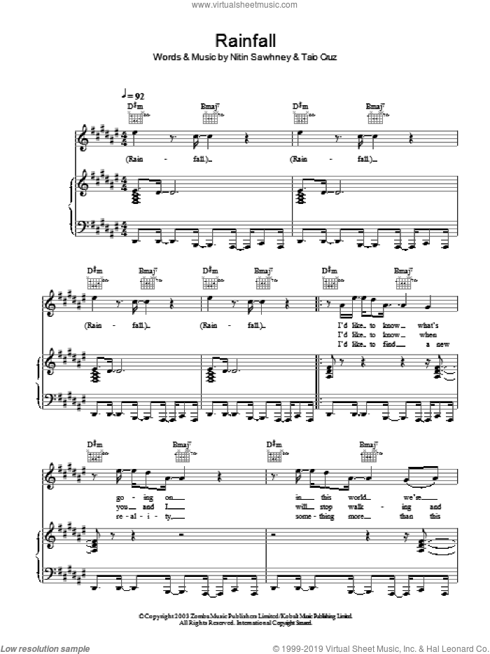 Rainfall sheet music for voice, piano or guitar by Nitin Sawhney and Taio Cruz. Score Image Preview.