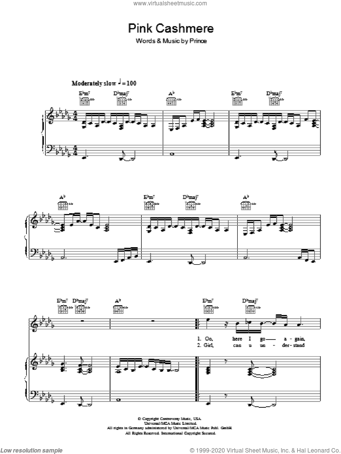 Pink Cashmere sheet music for voice, piano or guitar by Prince, intermediate skill level