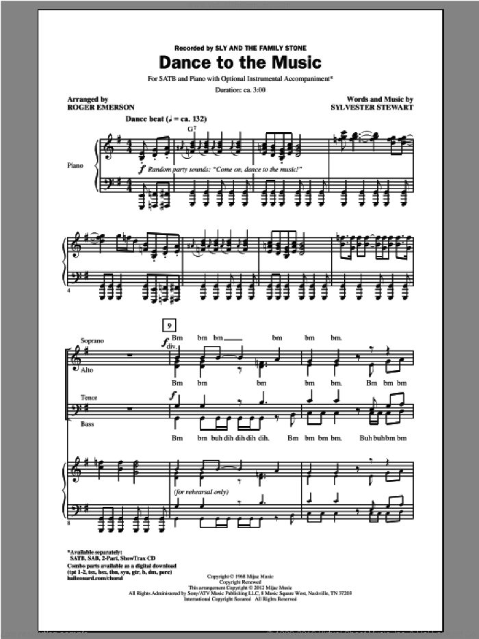 Dance To The Music sheet music for choir (SATB: soprano, alto, tenor, bass) by Roger Emerson, Sylvester Stewart and Sly And The Family Stone, intermediate skill level