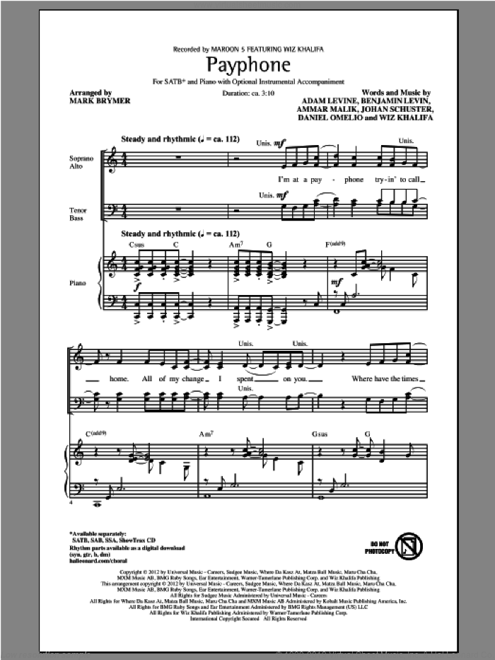 Payphone sheet music for choir (SATB: soprano, alto, tenor, bass) by Mark Brymer, Maroon 5 and Wiz Khalifa, intermediate. Score Image Preview.