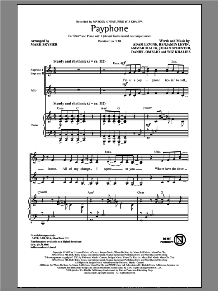 Payphone sheet music for choir (soprano voice, alto voice, choir) by Mark Brymer, Maroon 5 and Wiz Khalifa. Score Image Preview.