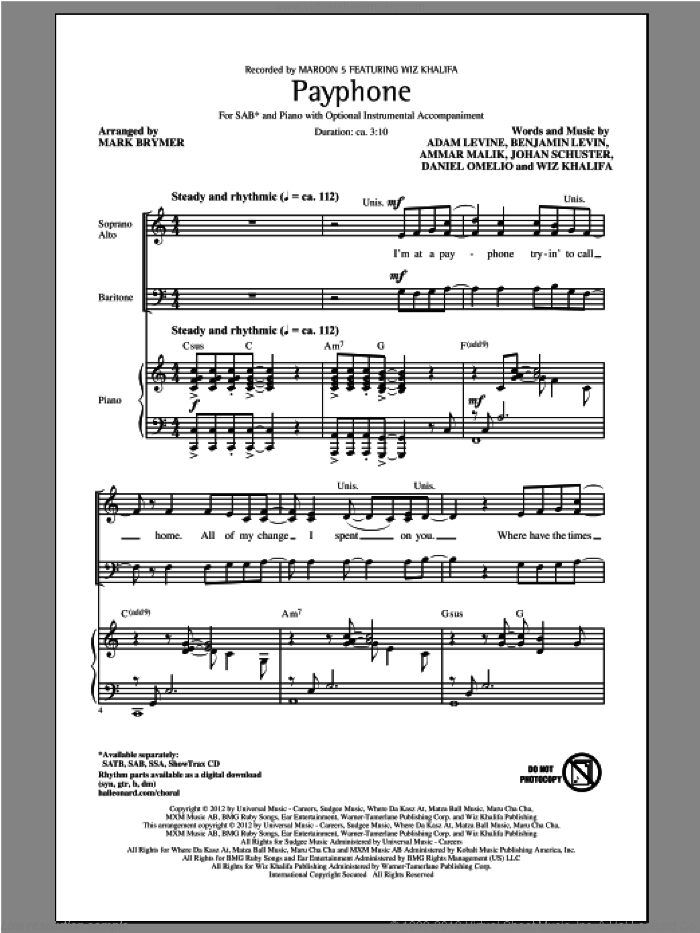 Payphone sheet music for choir (SAB: soprano, alto, bass) by Mark Brymer, Maroon 5 and Wiz Khalifa, intermediate skill level