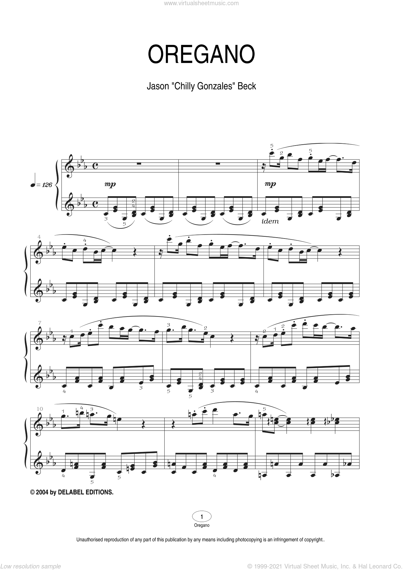 Oregano sheet music for piano solo by Chilly Gonzales and Jason Beck. Score Image Preview.