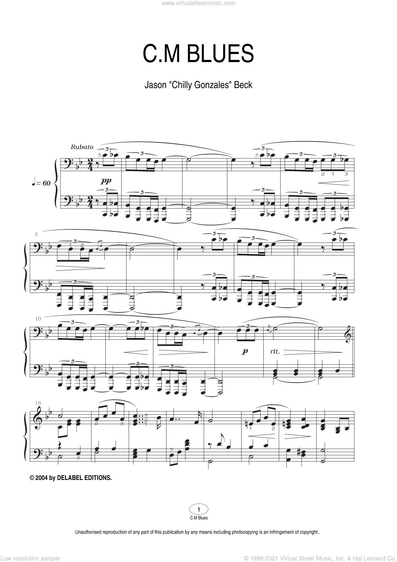 C.M Blues sheet music for piano solo by Chilly Gonzales, intermediate. Score Image Preview.