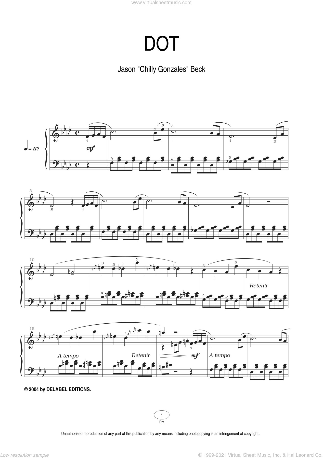 Dot sheet music for piano solo by Chilly Gonzales, intermediate. Score Image Preview.