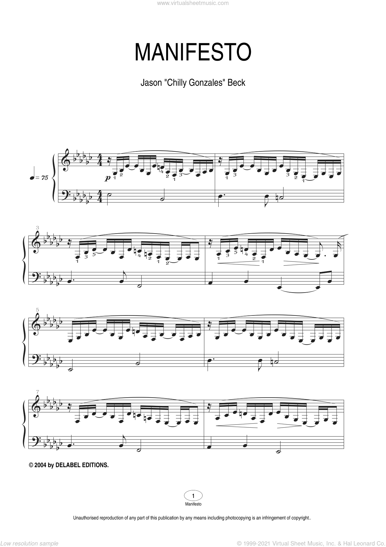 Manifesto sheet music for piano solo by Chilly Gonzales and Jason Beck. Score Image Preview.