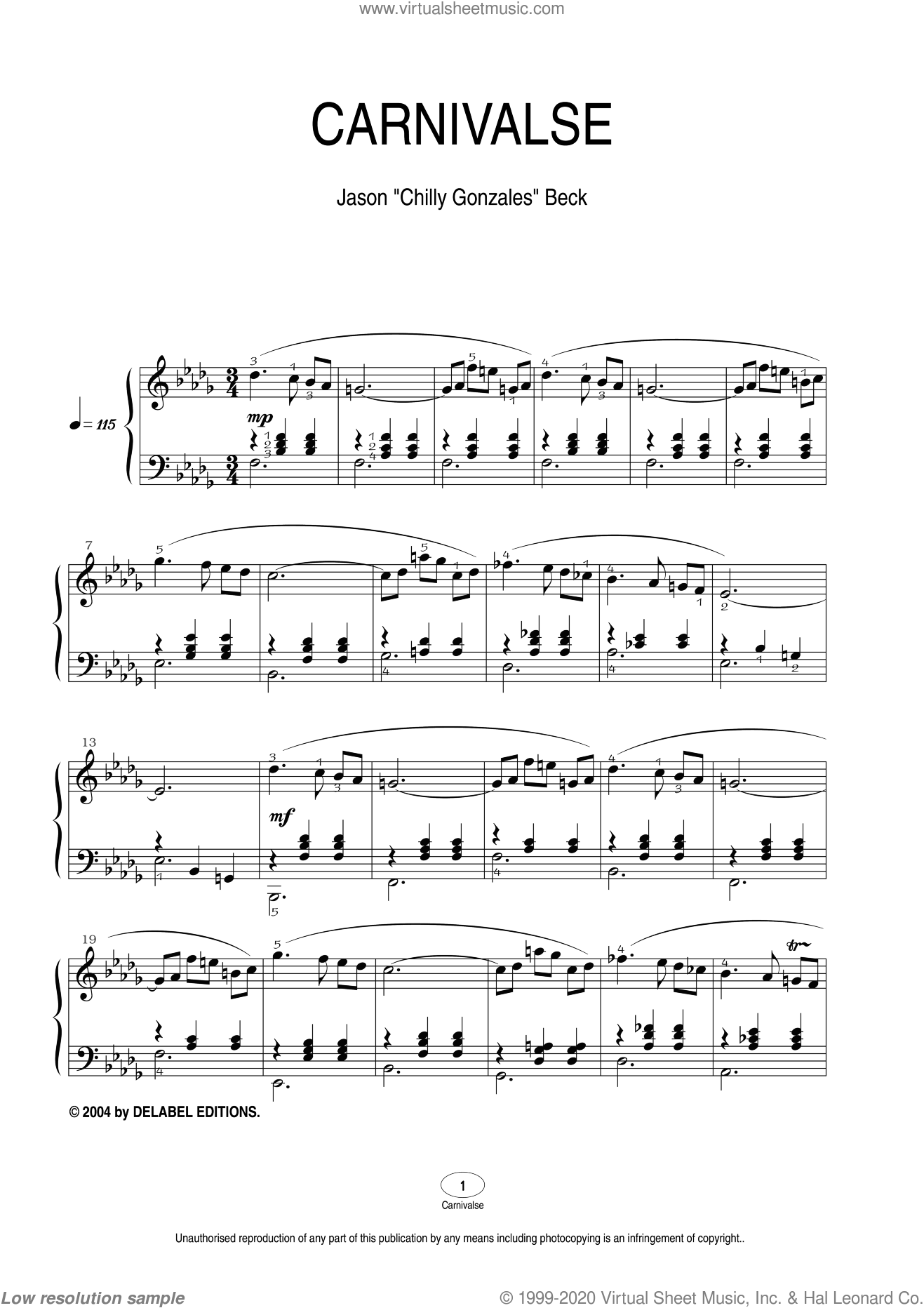 Carnivalse sheet music for piano solo by Chilly Gonzales and Jason Beck. Score Image Preview.