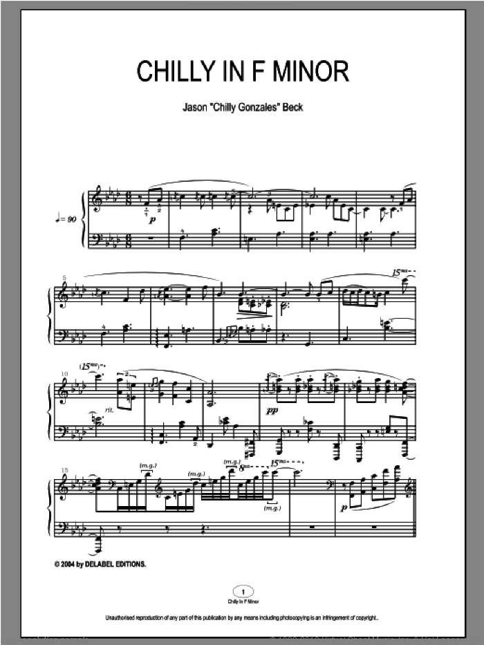Chilly In F Minor sheet music for piano solo by Chilly Gonzales, intermediate piano. Score Image Preview.