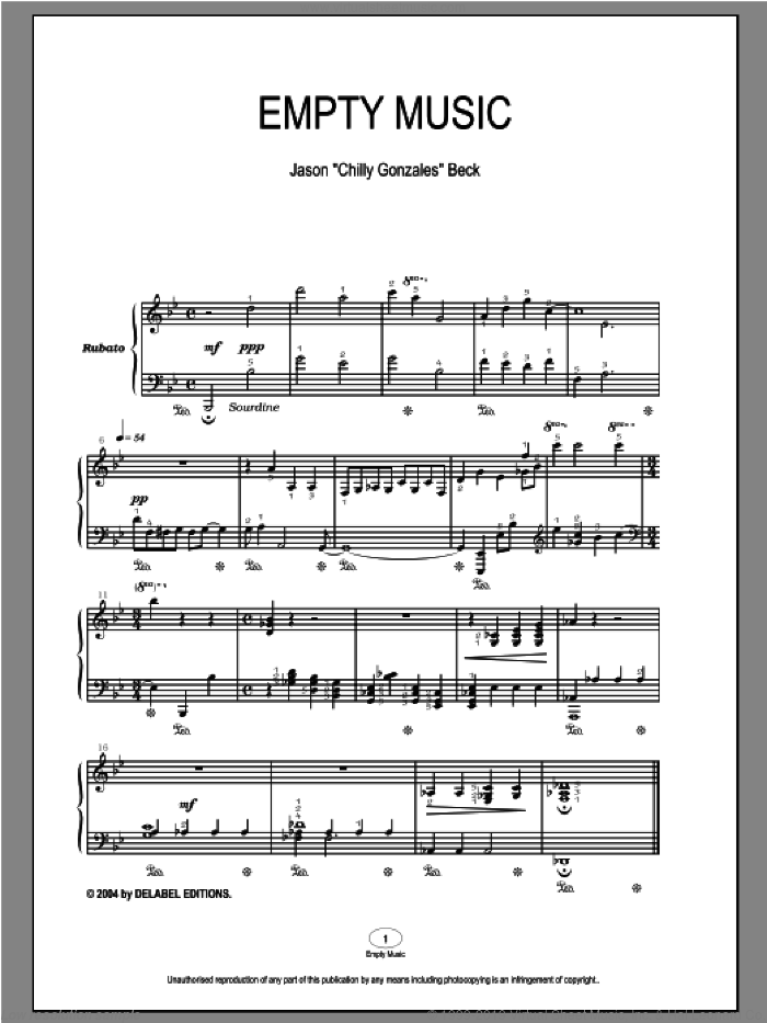 Empty Music sheet music for piano solo by Chilly Gonzales