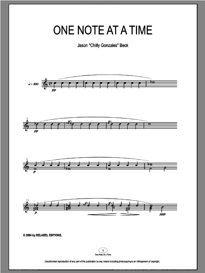 One Note At A Time sheet music for piano solo by Chilly Gonzales and Jason Beck. Score Image Preview.