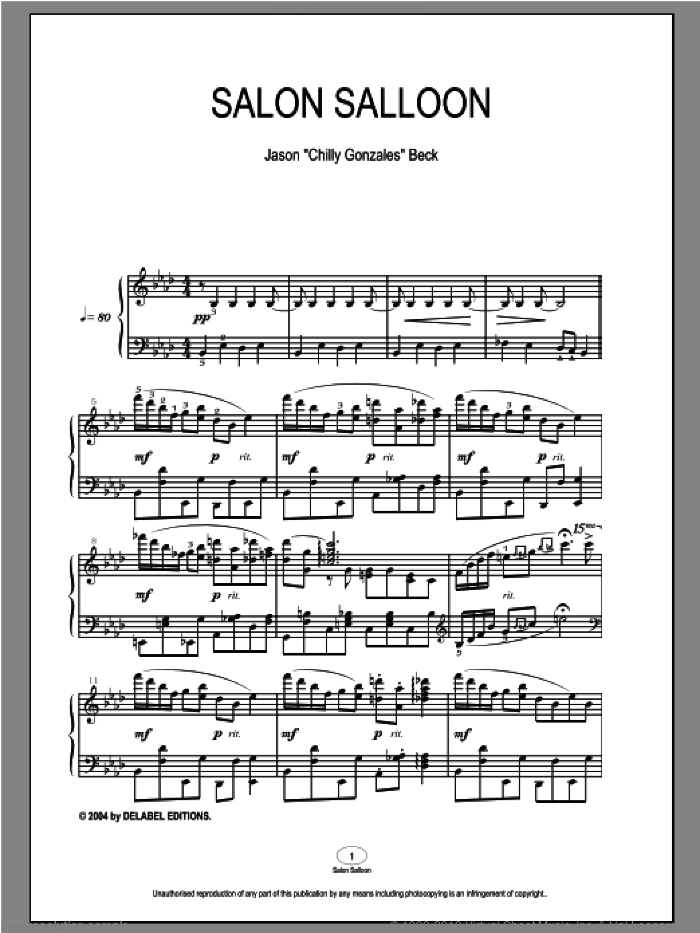 Salon Salloon sheet music for piano solo by Chilly Gonzales, intermediate piano. Score Image Preview.