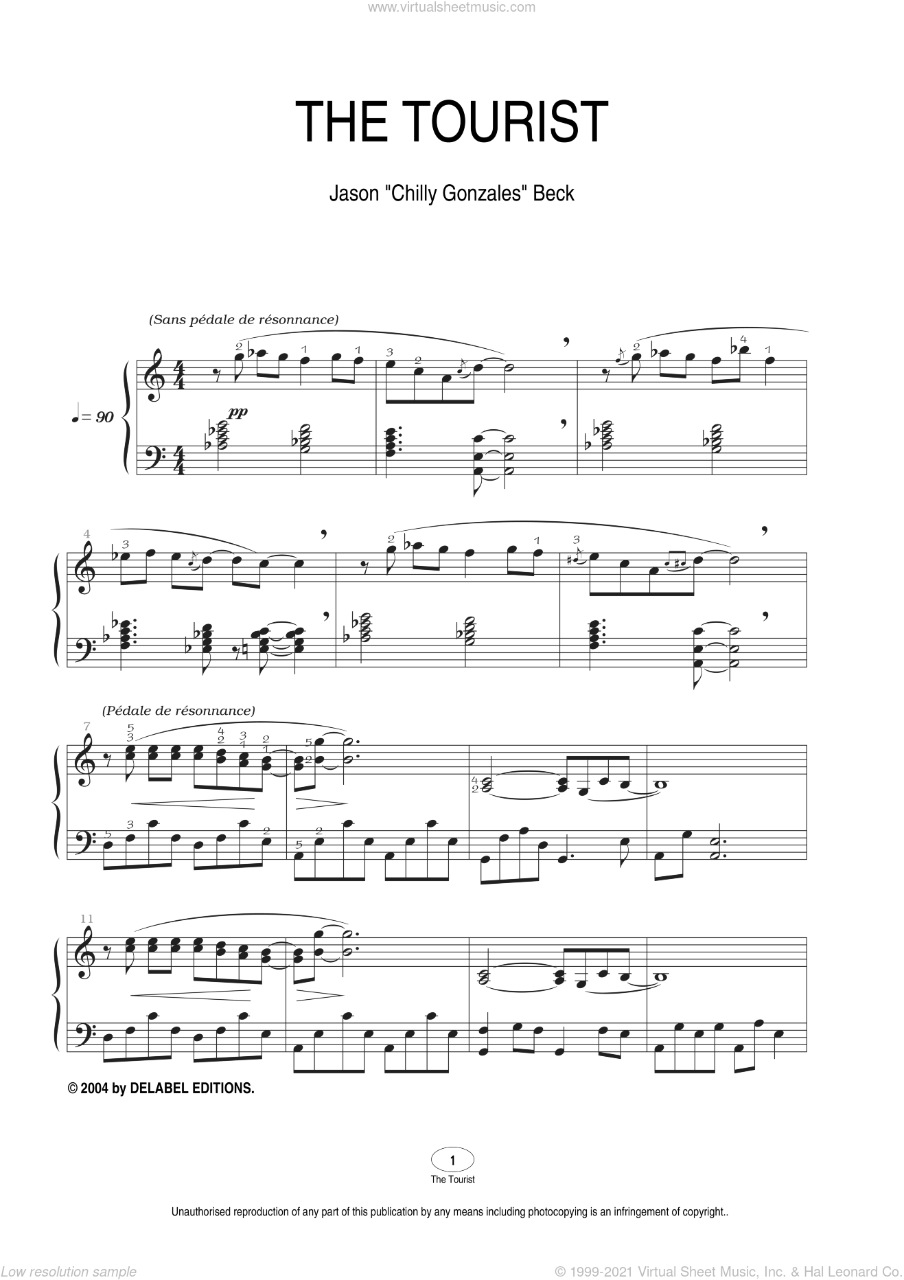 The Tourist sheet music for piano solo by Chilly Gonzales. Score Image Preview.